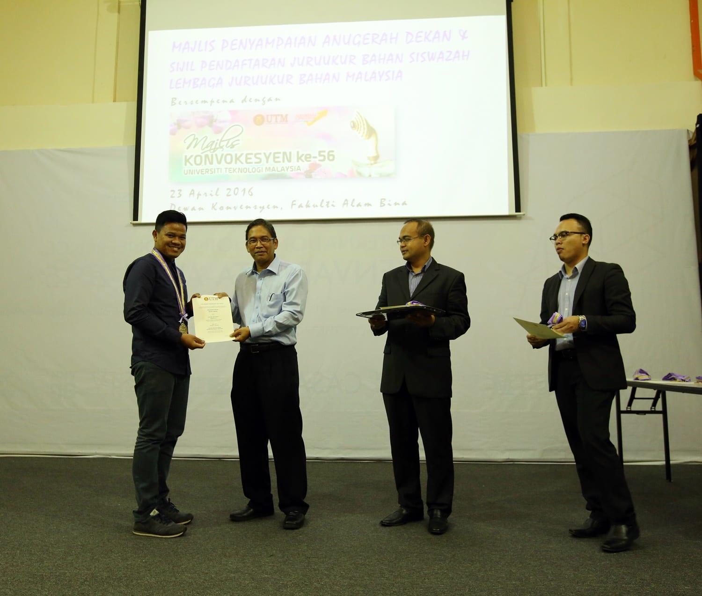 Majlis Penyampaian Anugerah Dekan & Sijil Keahlian Lembaga Juruukur Bahan Malaysia