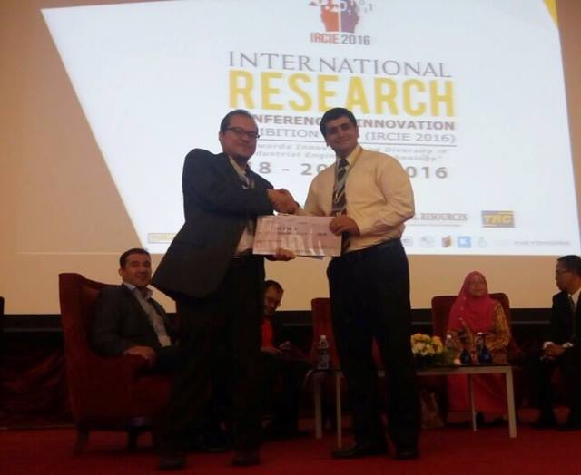 Dr. Mohammadamin Azimi Won Gold Award at International Research Conference and Innovation Exhibition (IRCIE2016)
