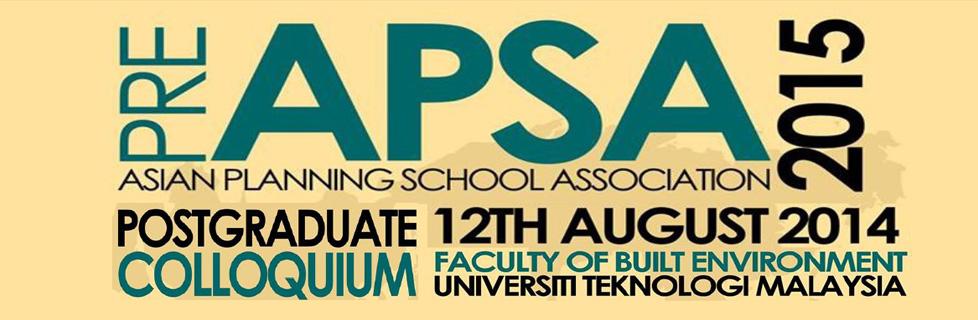 Pre Asian Planning School Association (APSA) 2015