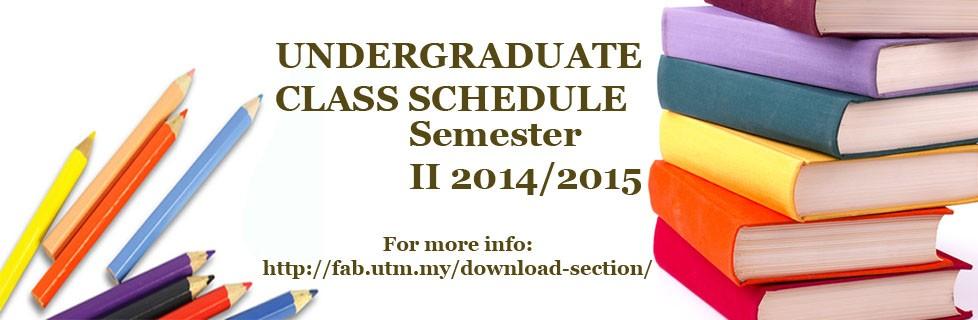 Class Schedule for Undergraduate Student
