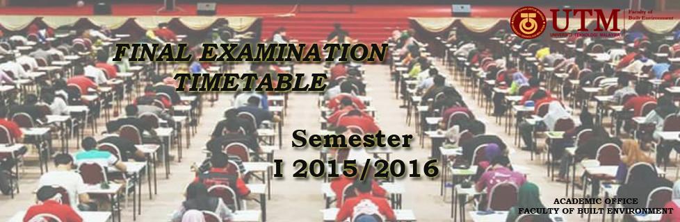 Examination Timetables Semester 1 2015/2016
