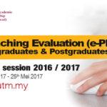 Penilaian Pengajaran Pensyarah secara Elektronik (ePPP) Sesi 2-2016/2017
