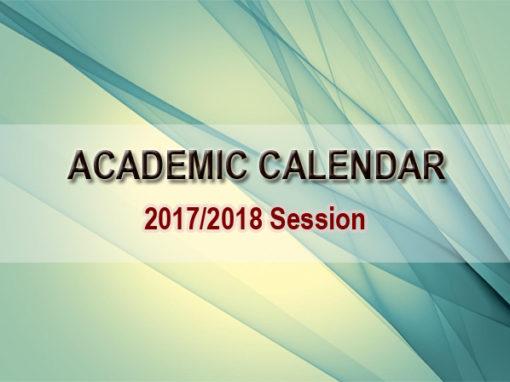 Academic Calendar 2017/2018 Session