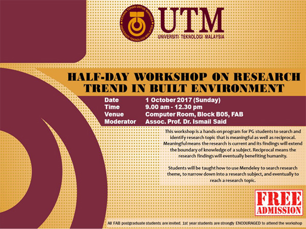 Half-Day Workshop on Research Trend in Built Environment