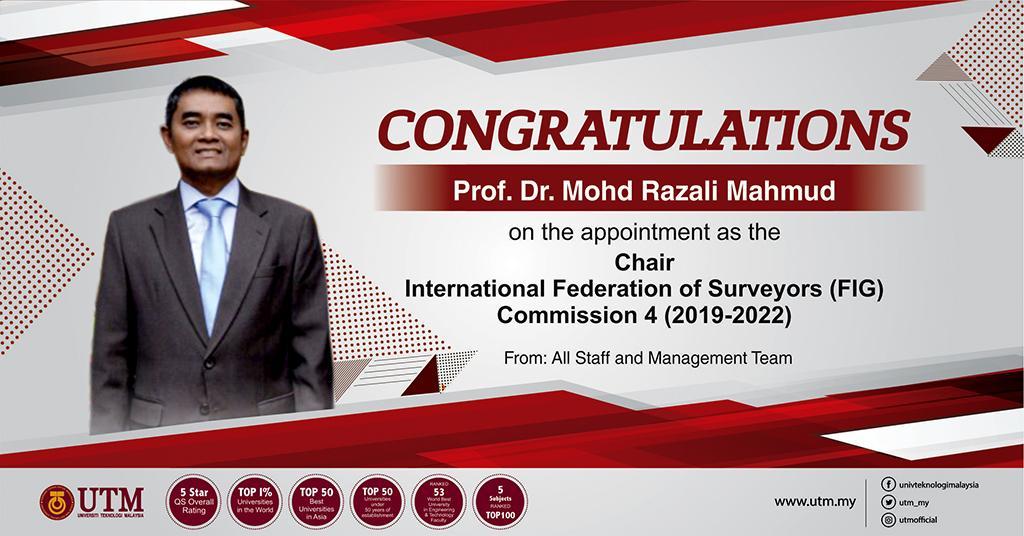 Congratulations to Professor Dr. Mohd Razali Mahmud