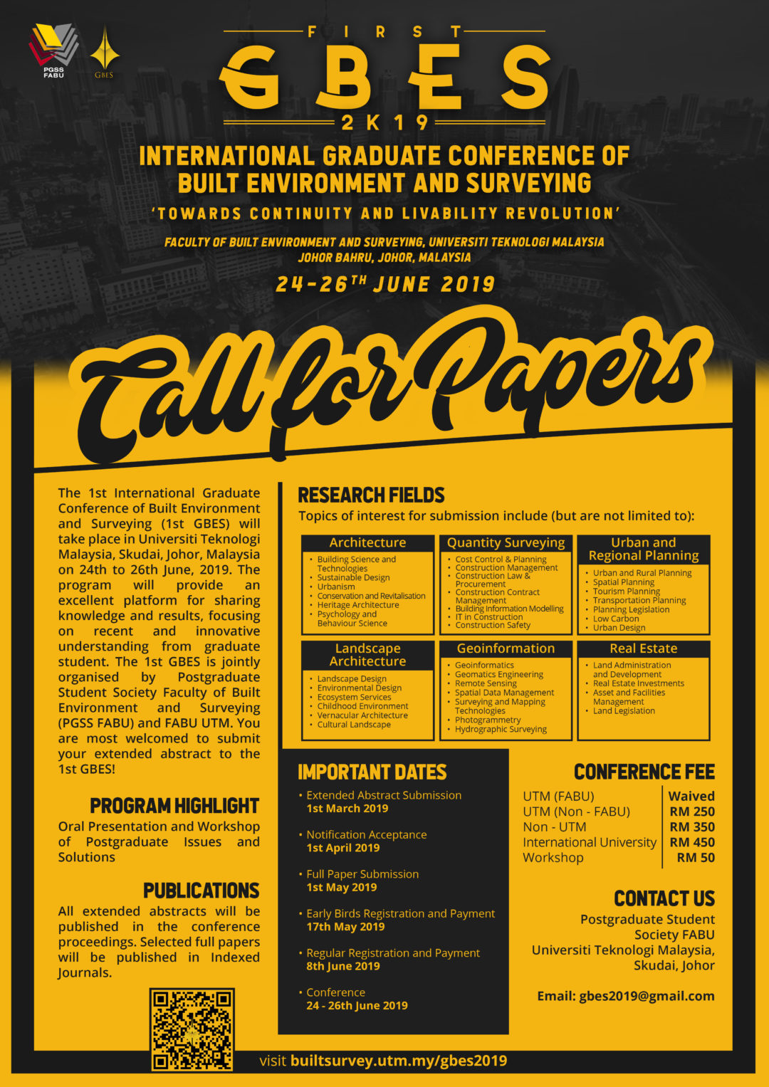 CALL FOR PAPERS : 1ST INTERNATIONAL GRADUATE CONFERENCE OF BUILT ENVIRONMENT AND SURVEYING