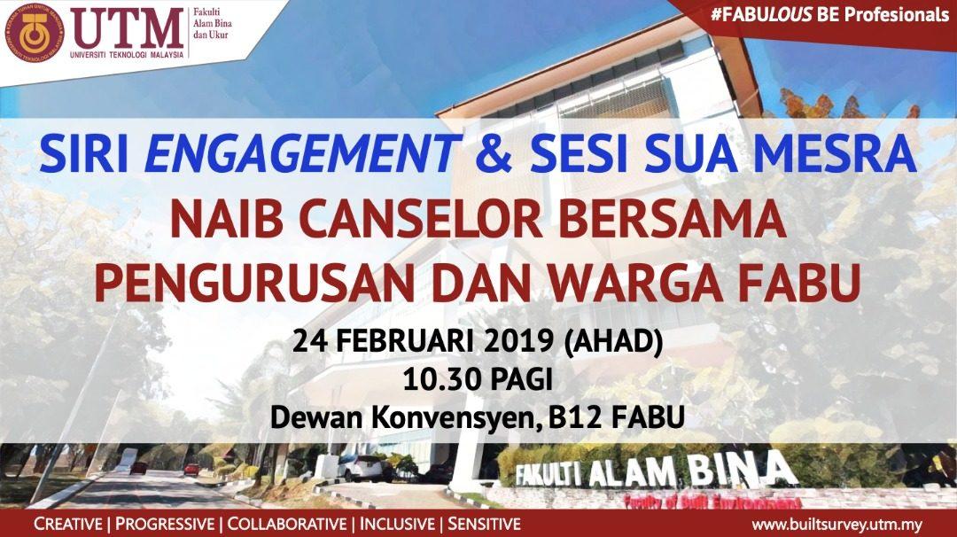 Sesi Engagement & Sesi Sua Mesra Naib Canselor bersama Pengurusan dan Warga FABU