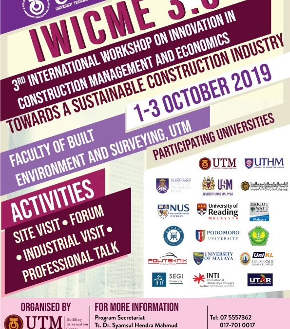 3rd International Workshop on Innovation In Construction Management and Economics Towards A Sustainable Construction Industry (IWICME) 3.0