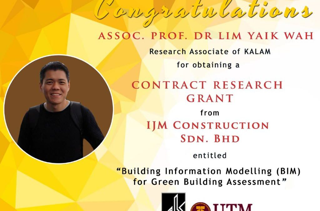 Huge congratulations to Research Associate of KALAM, Assoc. Prof. Dr. Lim Yaik Wah for obtaining 4 grant in 2019