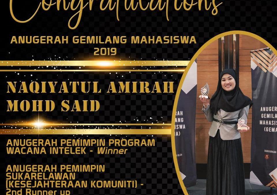 Tahniah diucapkan kepada Pelajar PhD Ukur Bahan, Saudari Naqiyatul Amirah bt Mohd Said di atas kemenangan pada Anugerah Gemilang Mahasiswa 2019