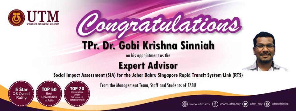Tahniah kepada TPr. Dr. Gobi Krishna (Pensyarah Kanan Perancangan Bandar & Wilayah)