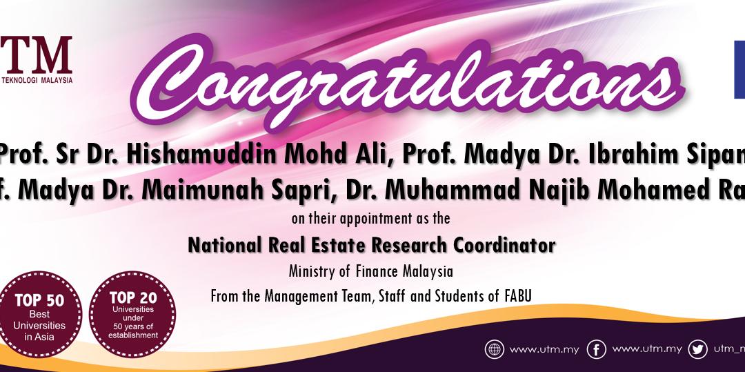Tahniah kepada staf akademik FABU, Prof. Sr Dr. Hishamuddin Mohd Ali, PM Dr. Ibrahim Sipan, PM Dr. Maimunah Sapri dan Dr. Muhammad Najib Mohamed Razali