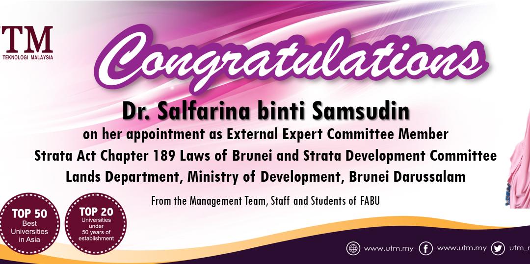 Tahniah kepada Dr. Salfarina Samsudin (Pensyarah Kanan Harta Tanah)