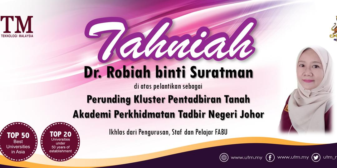 Tahniah kepada Dr. Robiah Suratman, Dr. Salfarina Samsudin dan PM Sr Dr. Zakaria Mohd Yusof di atas pelantikan oleh Akademi Perkhidmatan Tadbir Negeri Johor.