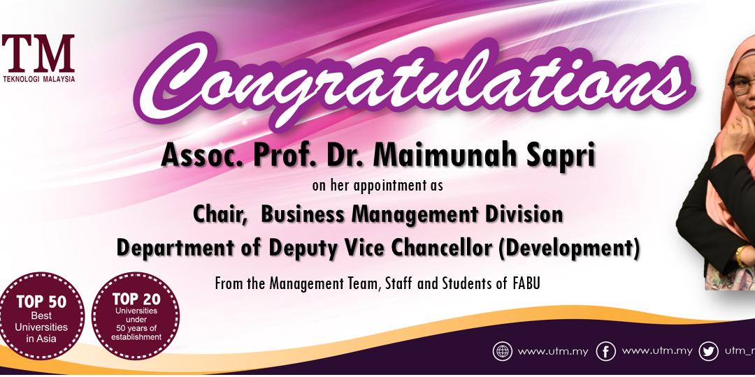 Tahniah Prof. Madya Dr. Maimunah Sapri