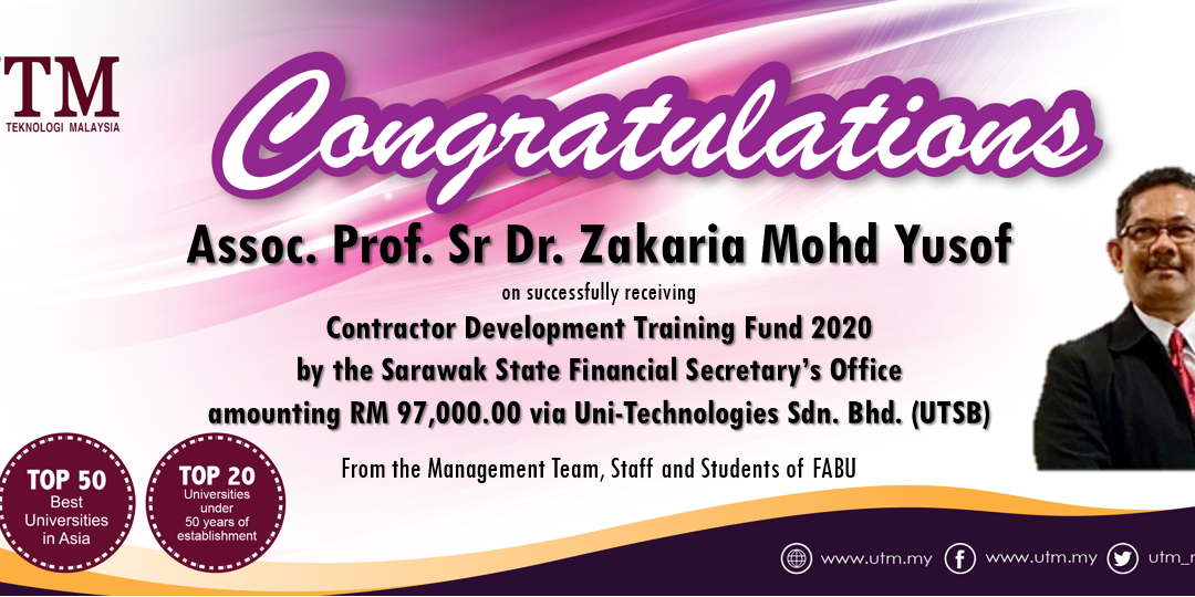 Congratulation to Assoc. Prof. Sr Dr. Zakaria Mohd Yusof on successfully receiving the training funds from the State Government of Sarawak amounting RM 97,000.00