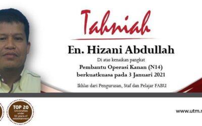 Tahniah diucapkan kepada En. Hizani bin Abdullah