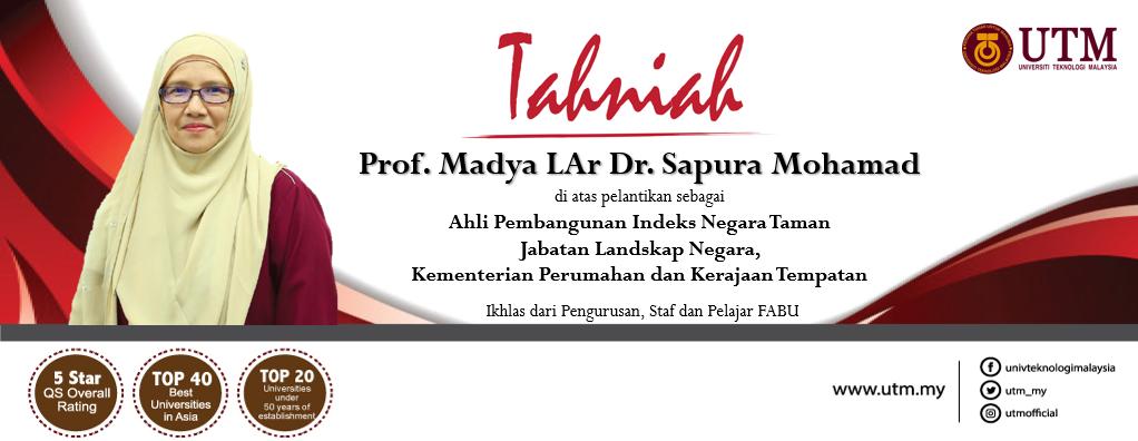 Tahniah kepada Prof. Madya LAr Dr. Sapura Mohamad, Pengarah (Senibina Landskap)