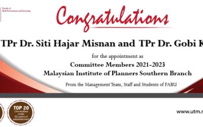 Tahniah kepada TPr Dr. Siti Hajar Misnan dan TPr Dr. Gobi Krishna