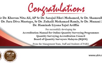 Congratulations to Quantity Surveying academic staff