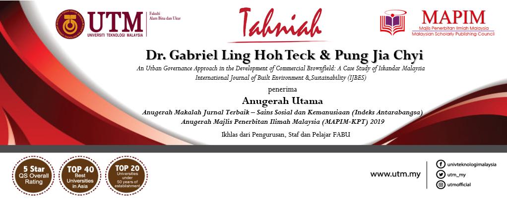 Tahniah kepada Dr. Gabriel Ling Hoh Teck dan Saudari Pung Jia Chyi
