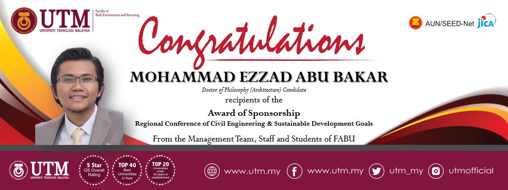 Tahniah kepada Saudara Mohammad Ezzad Abu Bakar di atas kejayaan memperoleh biasiswa