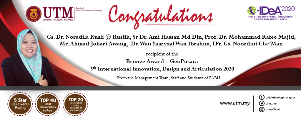Congratulation to the research team, headed by Gs. Dr. Noradila Rusli @ Ruslik, Senior Lecturer (Urban & Regional Planning) for receiving the awards at i-IDeA™ 2020