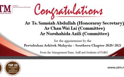 Tahniah kepada staf akademik Senibina di atas pelantikan oleh Pertubuhan Arkitek Malaysia