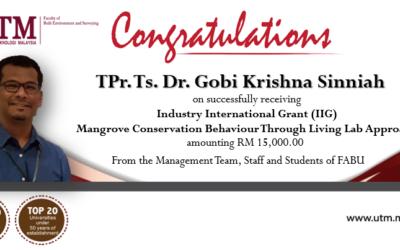Tahniah kepada TPr. Ts. Dr. Gobi Krishna (Pensyarah Kanan Perancangan Bandar & Wilayah) yang telah menerima Dana Penyelidikan IIG
