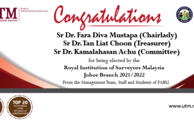 Congratulations to Sr Dr. Fara Diva Mustapa, Sr Dr. Tan Liat Choon and Dr. Kamalahasan Achu for being elected by the Royal Institution of Surveyors Malaysia (RISM)