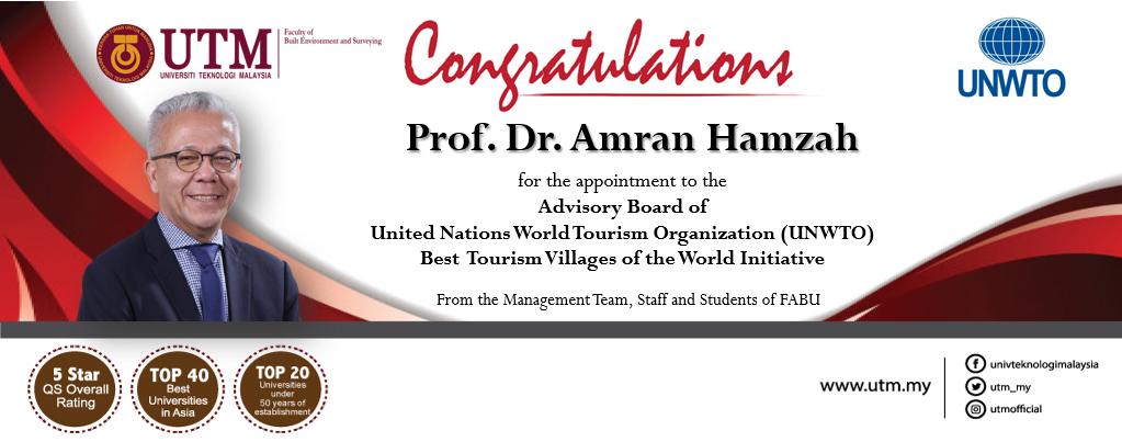 Tahniah Prof. Dr. Amran Hamzah atas pelantikan Pakar Perancangan Pelancongan FABU