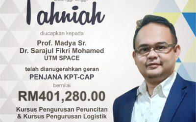 Tahniah PM Sr Dr Sarajul Fikri Mohamed yang telah dianugerahkan geran PENJANA KPT-CAP