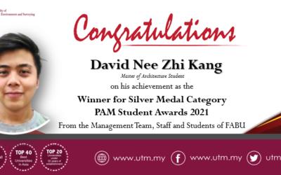 Tahniah kepada pelajar Sarjana Senibina FABU, David Nee Zhi Kang dan Muhammad Arib Affan Mohd Hamzan atas pengiktirafan dari Pertubuhan Arkitek Malaysia (PAM)