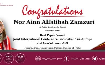 Tahniah kepada Saudari Nor Ainn Alfatihah Zamzuri pelajar Sarjana Falsafah Geoinformatik atas kejayaan dan anugerah yang diperolehi